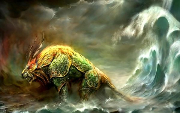 Fantasy Creature Nian Monster Horns Bull HD Wallpaper | Background Image