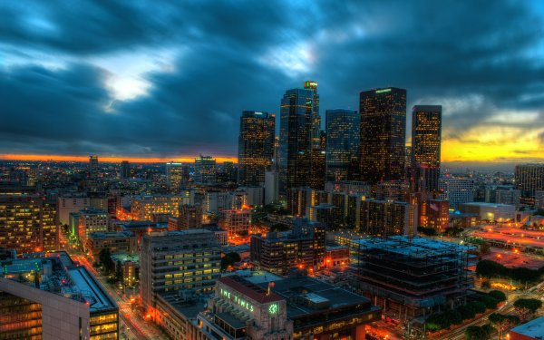 Man Made Los Angeles Cities United States City Cityscape Sky Sunset Cloud Skyscraper HD Wallpaper | Background Image