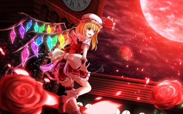 Anime Touhou Flandre Scarlet Blood Moon HD Wallpaper | Background Image