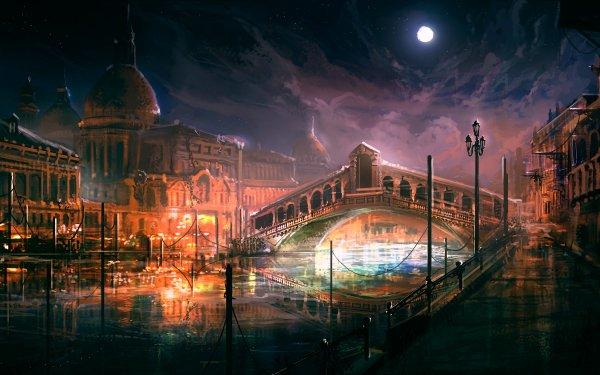 Fantasy City Venice Canal Building Dome Bridge Italy Rialto Bridge HD Wallpaper | Background Image