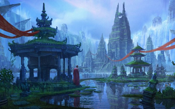 Fantasy Temple Water Monk Tower HD Wallpaper | Background Image
