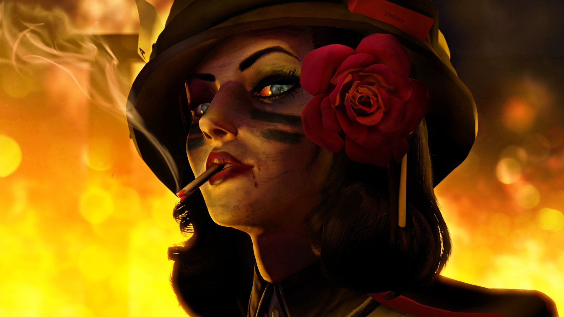 Video Game - Bioshock Infinite  Artistic Painting Elizabeth (Bioshock Infinite) Girl Woman Cigarette Hat Rose Wallpaper