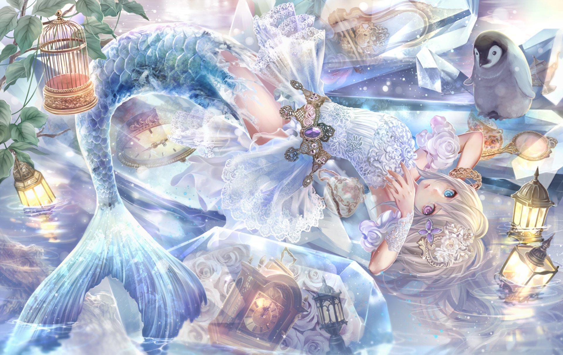 Anime - Original  Clock Water Heterochromia White Hair Long Hair Mermaid Lamp Animal Penguin Headdress Cage Lips Flower Blue Crystal Wallpaper
