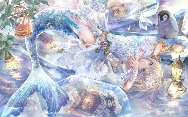 Anime Original Mermaid Long Hair White Hair Heterochromia Clock Water Lamp Penguin Headdress Cage Lips Flower Blue Crystal HD Wallpaper | Background Image