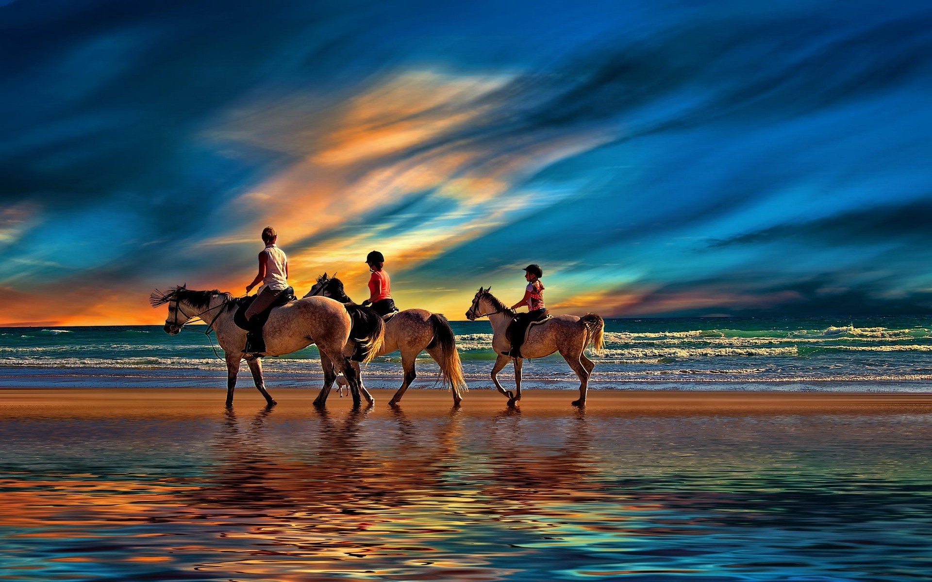riding on the beach full hd wallpaper and background image