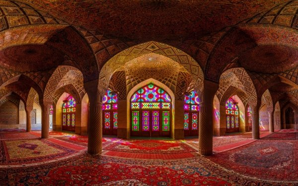 Religious Mosque Mosques Colors Colorful Stained Glass Arch Iran HD Wallpaper | Background Image
