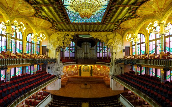 Man Made Palace Palaces Music Barcelona Spain HD Wallpaper | Background Image