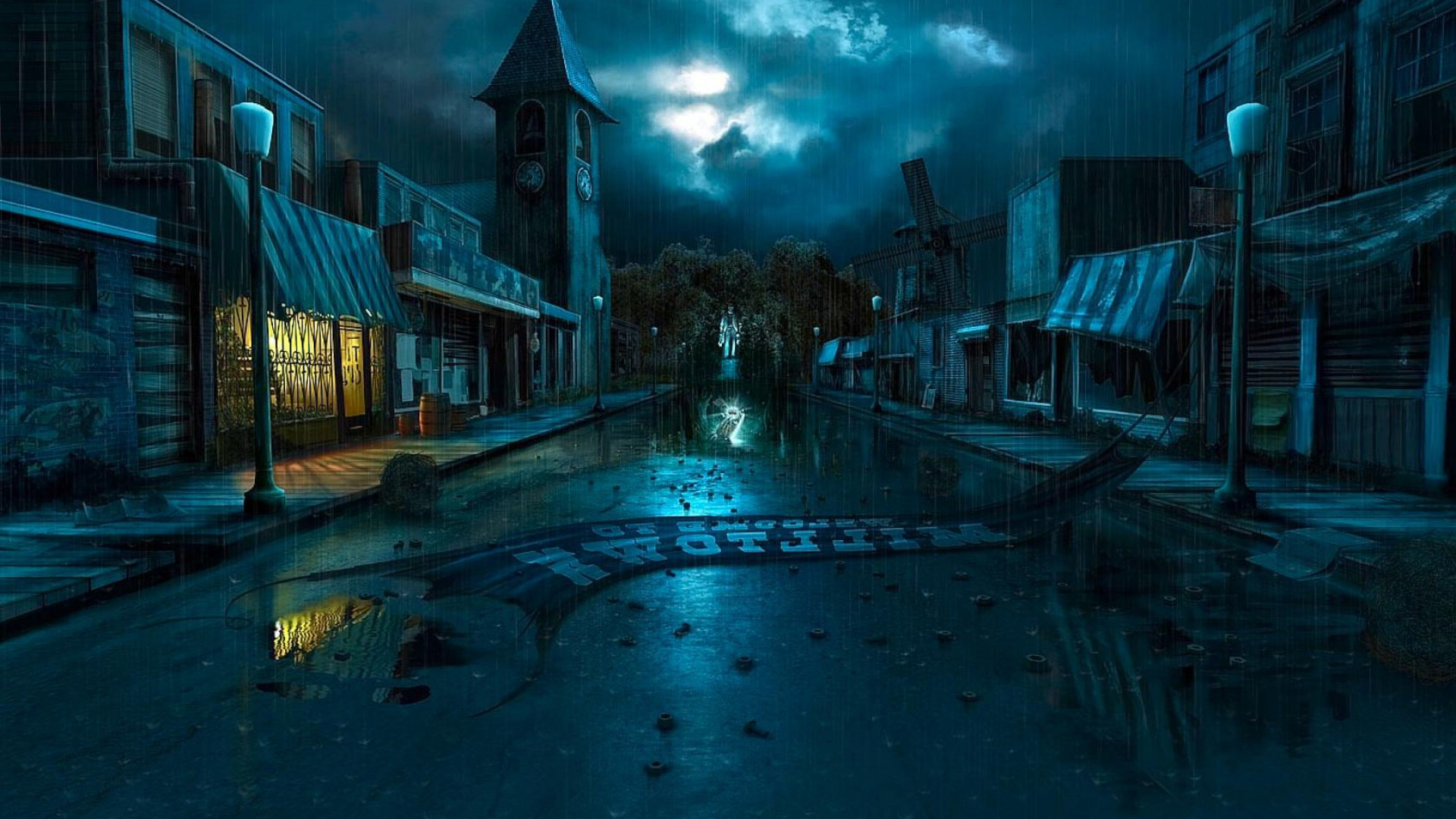 abandoned city at night full hd wallpaper and background