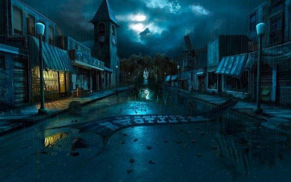 Artístico Ciudad Oscuro Fantasía Noche Street Light Iglesia Nube Relámpago Fondo de pantalla HD | Fondo de Escritorio