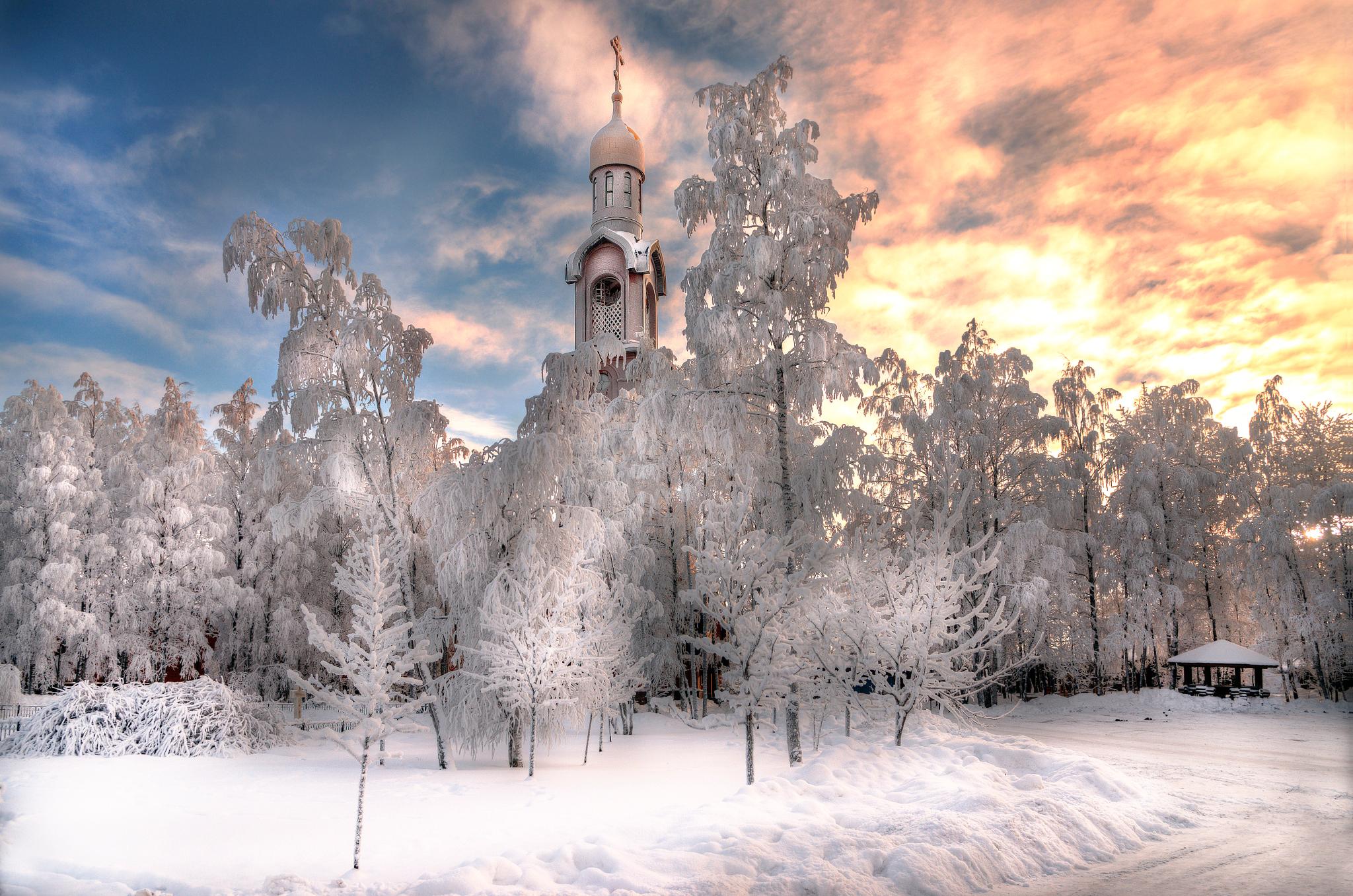 Russian Church In Winter Hd Wallpaper Background Image