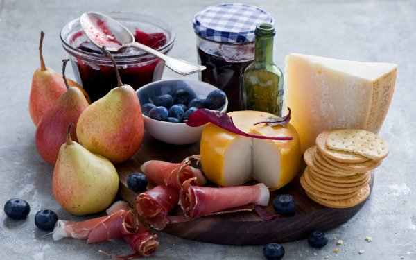Food Still Life Pear Blueberry Cheese Jam HD Wallpaper | Background Image
