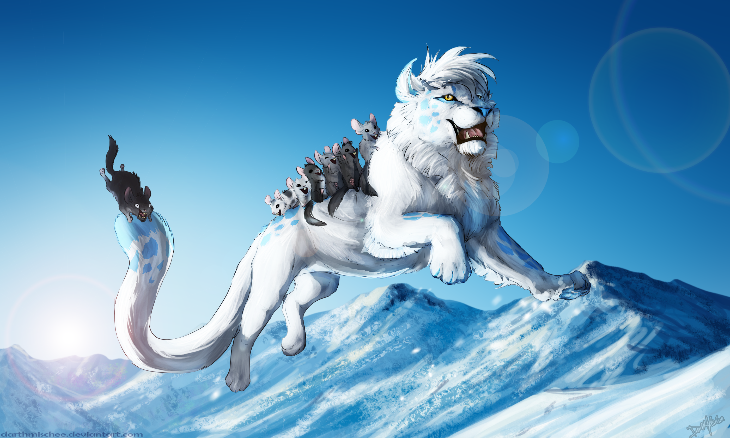Fantasy lion with small rodents HD Wallpaper | Background