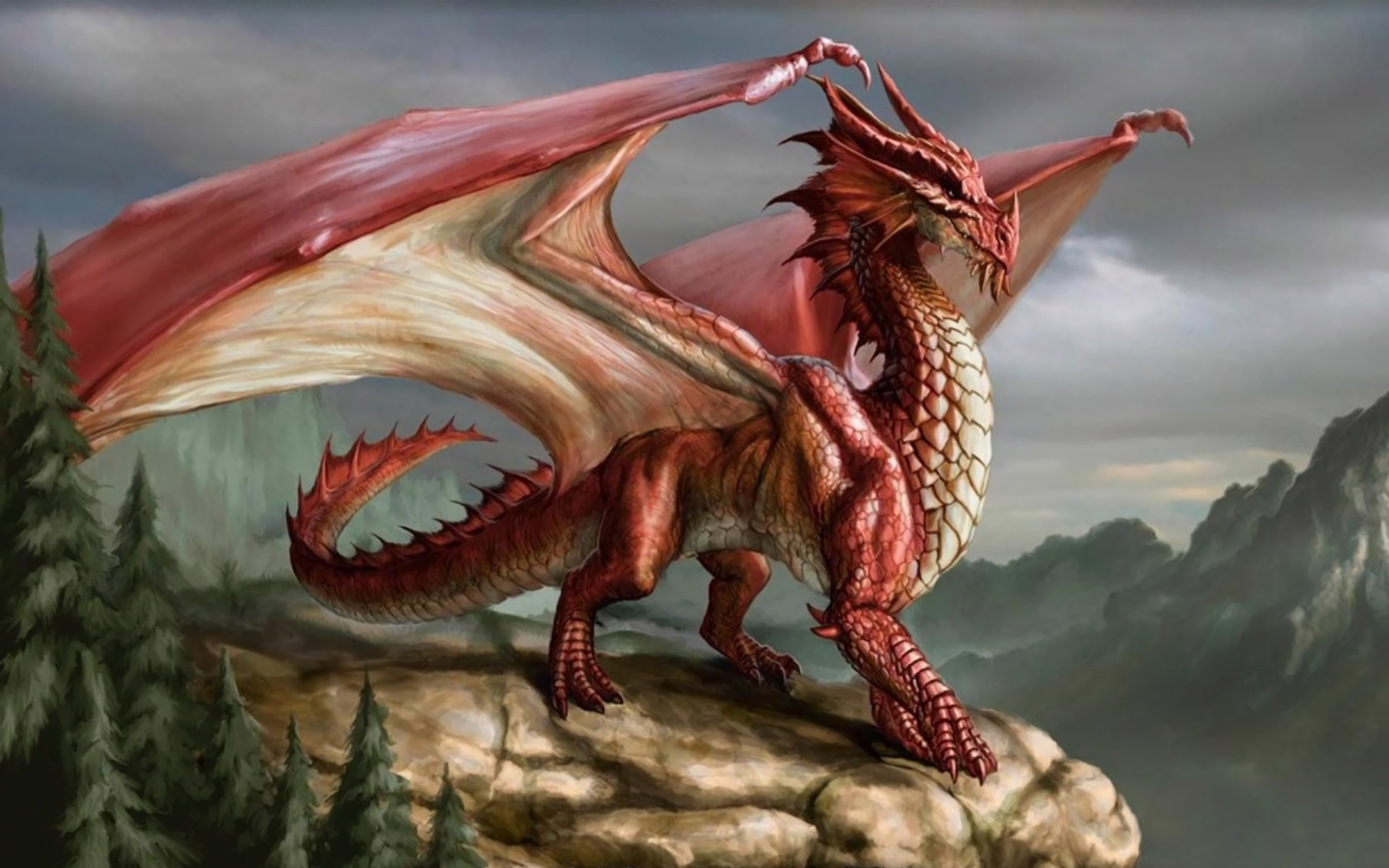 Fantasy - Dragon  Red Forest Fantasy Mountain Rock Wallpaper