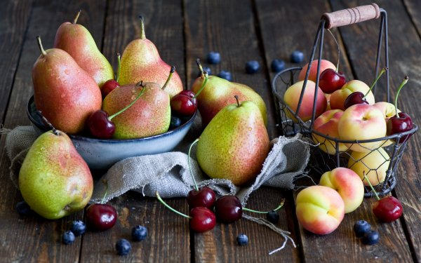 Food Fruit Fruits Still Life Peach Cherry Pear Blueberry HD Wallpaper | Background Image