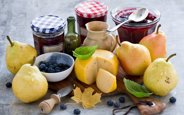 Food Still Life Fruit Blueberry Pear Cheese Jam HD Wallpaper | Background Image
