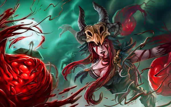 Video Game League Of Legends Syndra Woman Warrior Red Hair Blood HD Wallpaper | Background Image