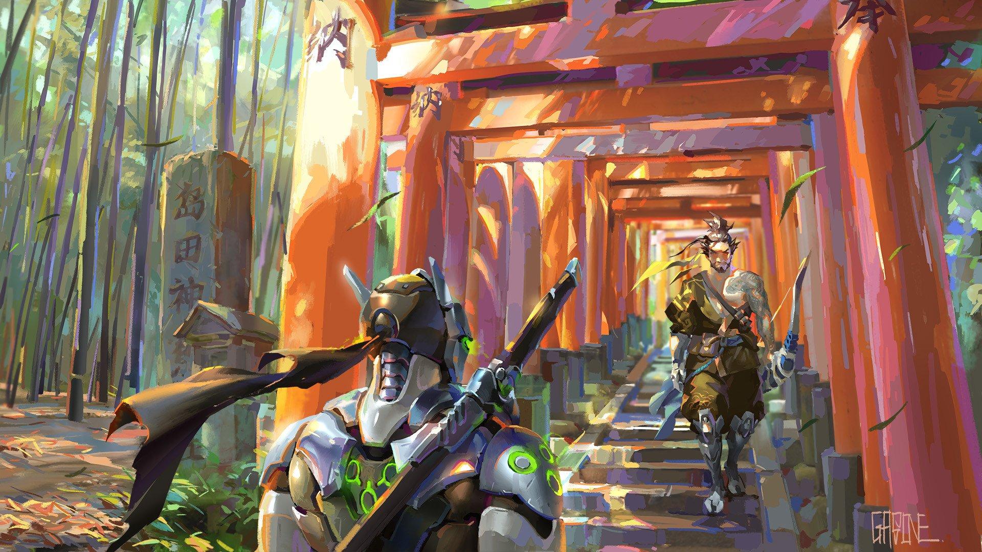 Video Game - Overwatch  Hanzo (Overwatch) Genji (Overwatch) Wallpaper