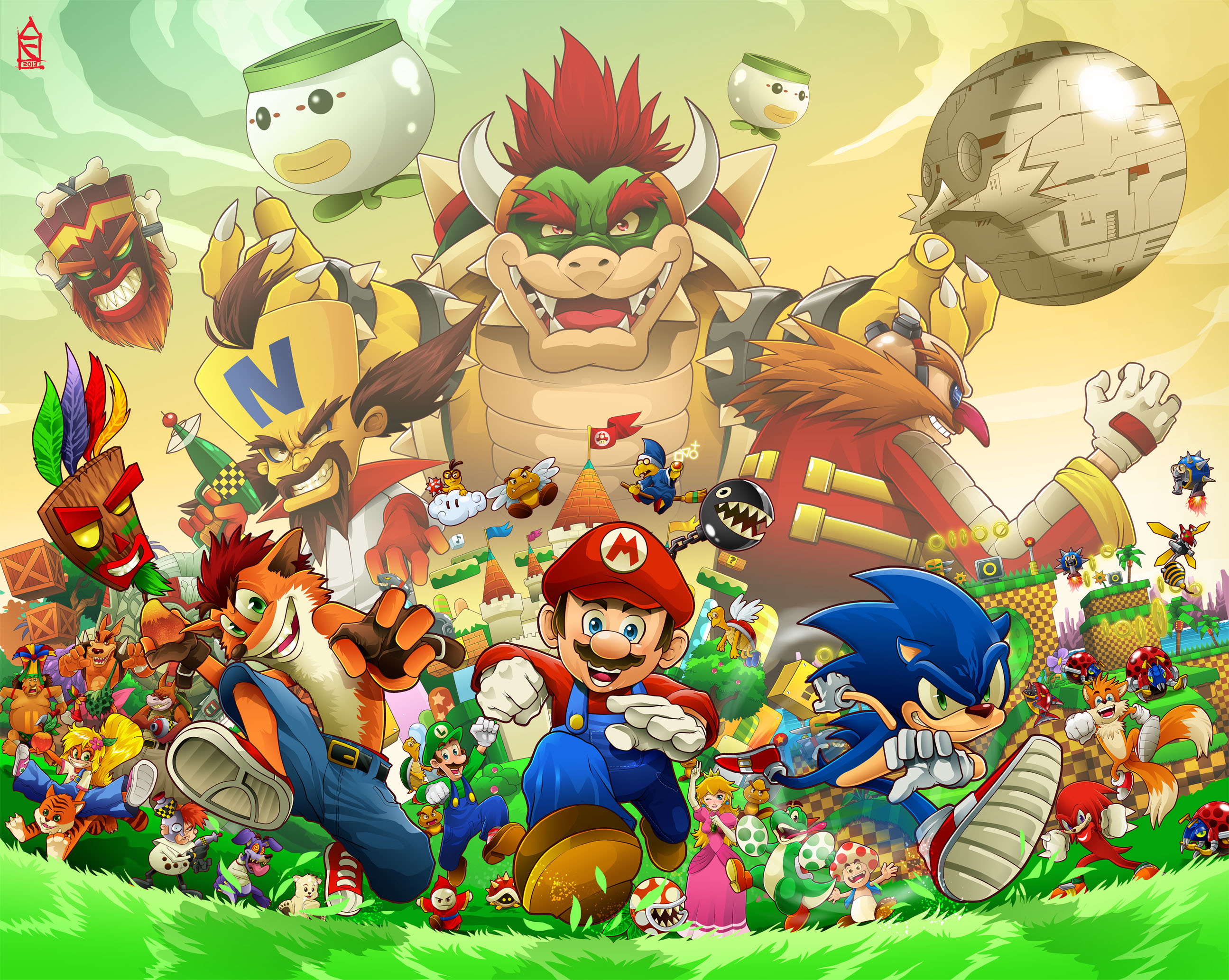 Crash Bandicoot Super Mario Bros And Sonic The Hedgedog Crossover