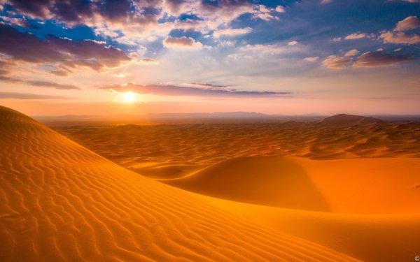 Earth Desert Sand Dune Sunset Sky Sahara Morocco HD Wallpaper   Background Image