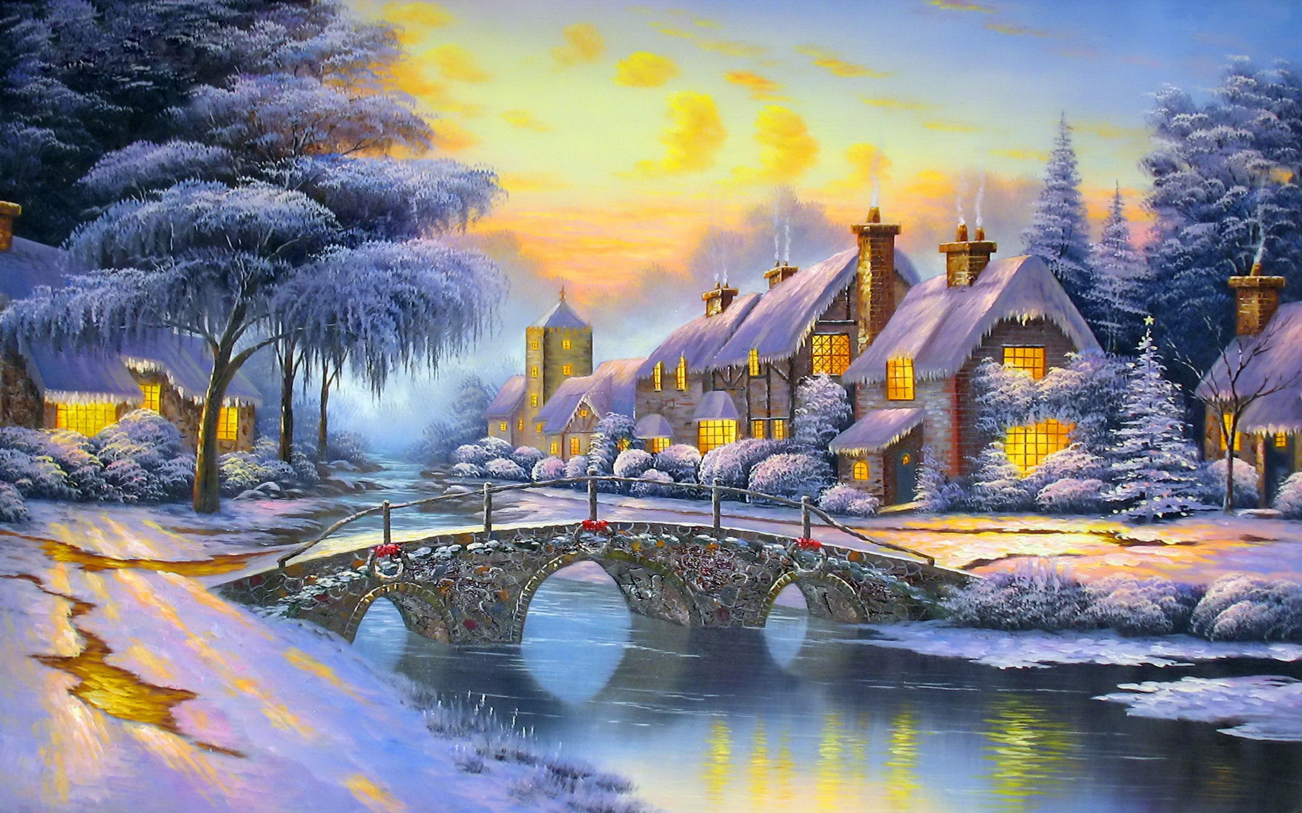 Winter Village Full Hd Wallpaper And Background