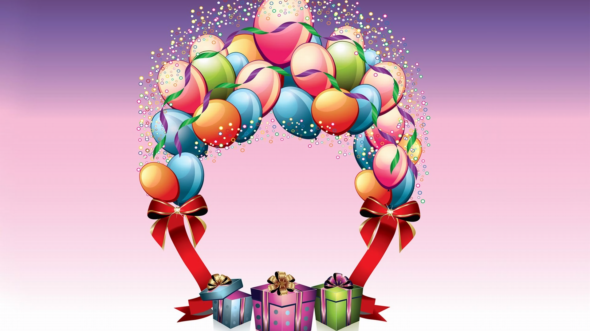 Birthday Balloons And Gifts Hd Wallpaper Background Image