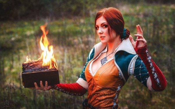 Women Cosplay The Witcher 3: Wild Hunt Triss Merigold HD Wallpaper | Background Image