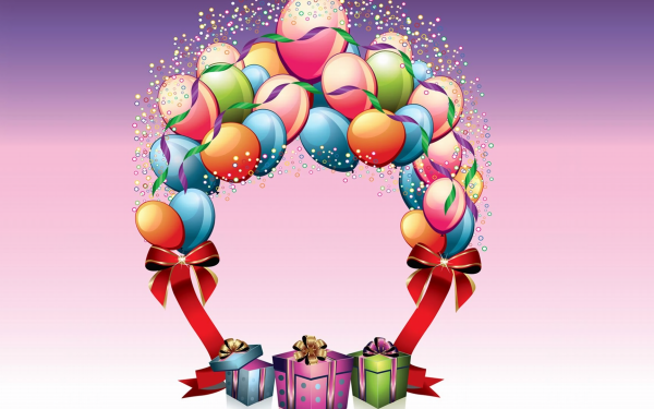 Holiday Birthday Balloon Gift Colorful HD Wallpaper | Background Image