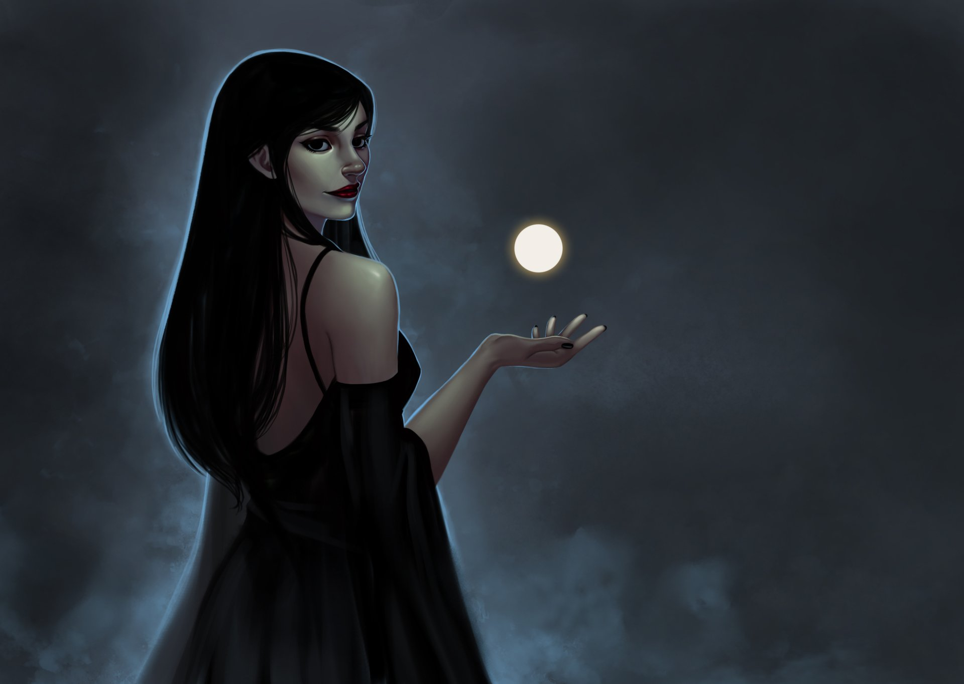 Artistic - Painting  Lipstick Moon Black Hair Girl Woman Artistic Wallpaper