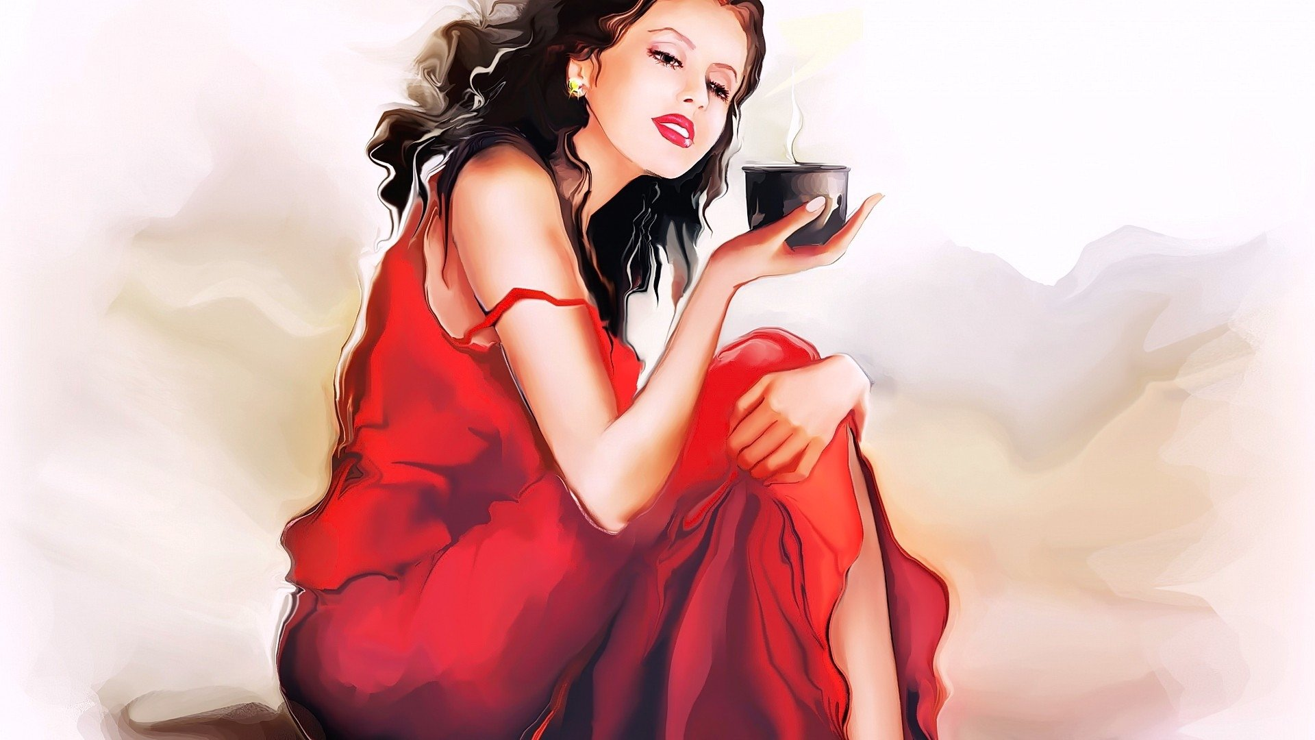 Artistic - Painting  Red Dress Brunette Lipstick Artistic Drawing Woman Wallpaper