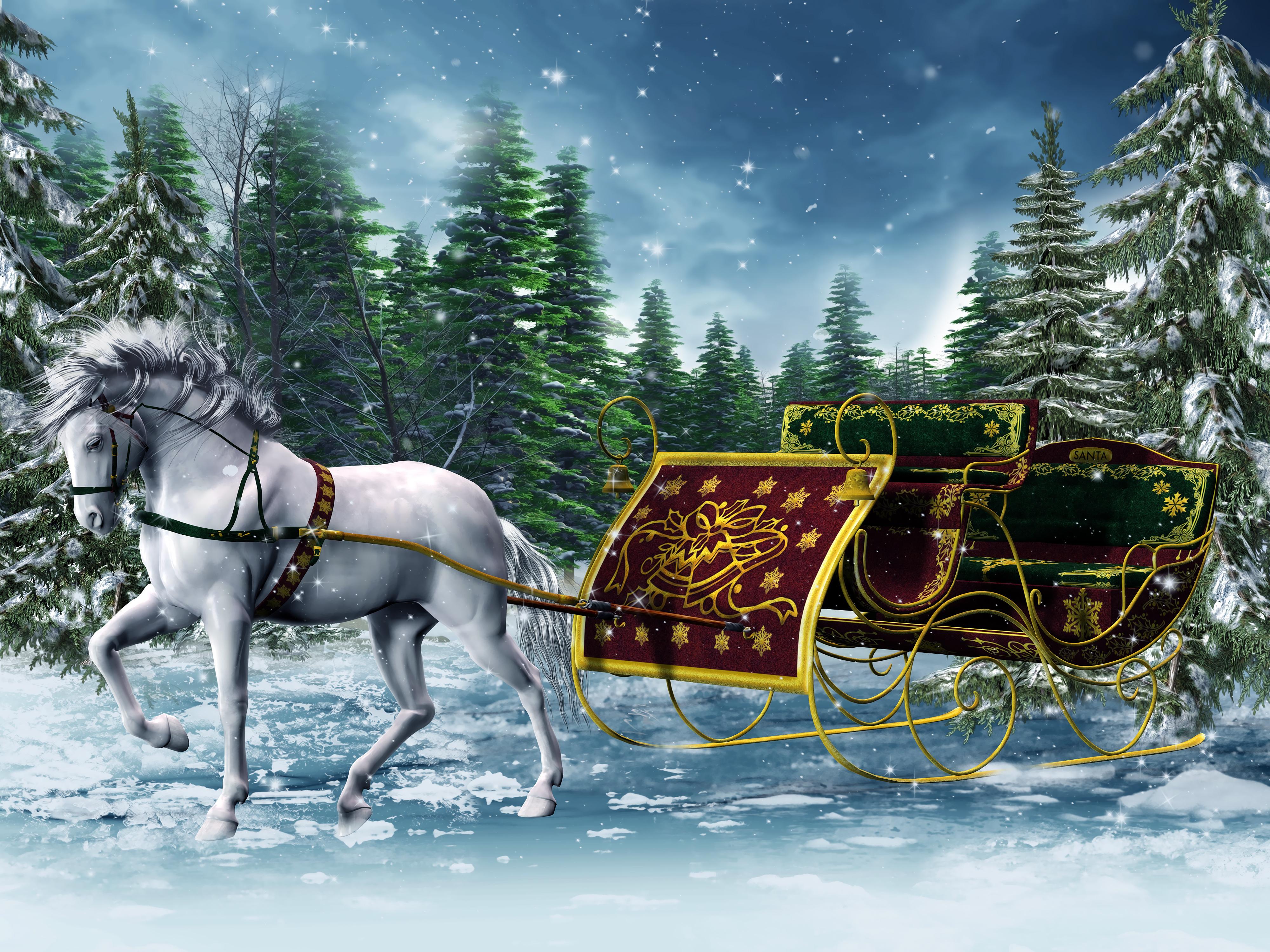 christmas sleigh horses 1920x1080 wallpaper - photo #5