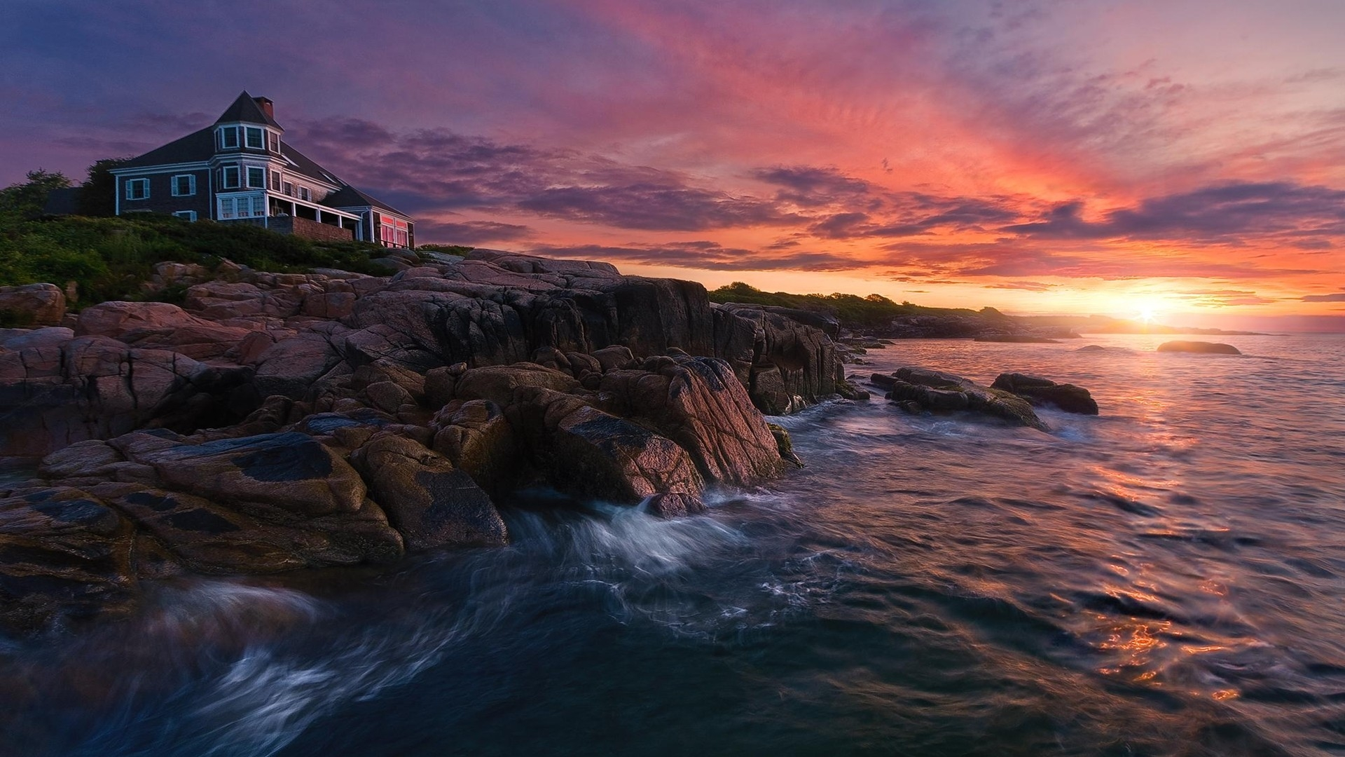 Sunset Over House On Rocky Coast HD Wallpaper