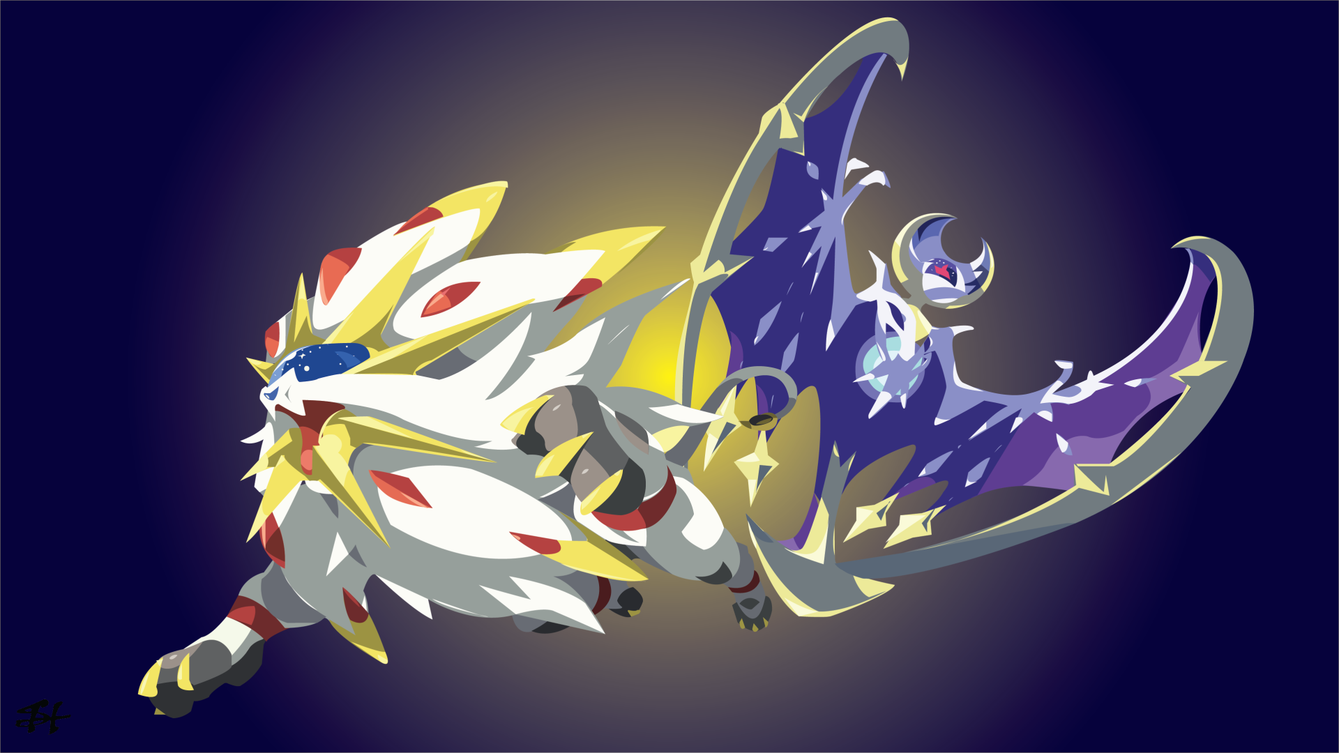Video Game - Pokémon: Sun and Moon  Lunala (Pokémon) Solgaleo (Pokémon) Pokémon Sun Pokémon Moon Pokémon Pokémon Sun And Moon Wallpaper