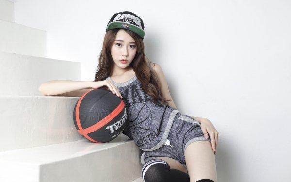 Women Asian Model Sport Basketball Brunette Brown Eyes HD Wallpaper | Background Image