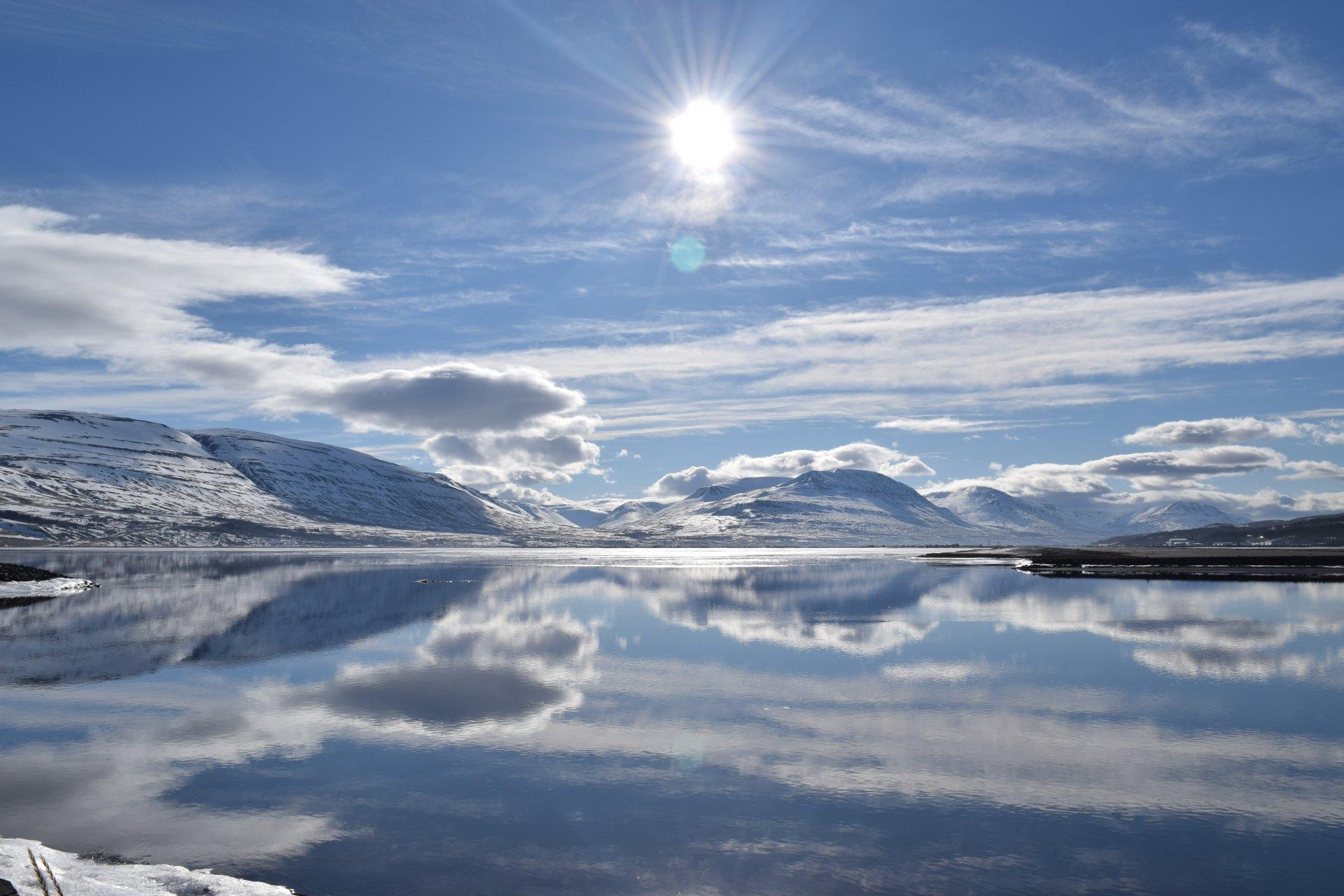 Earth - Winter  Reflection Mountain Water Lake Snow Cloud Iceland Sun Sunbeam Landscape Wallpaper