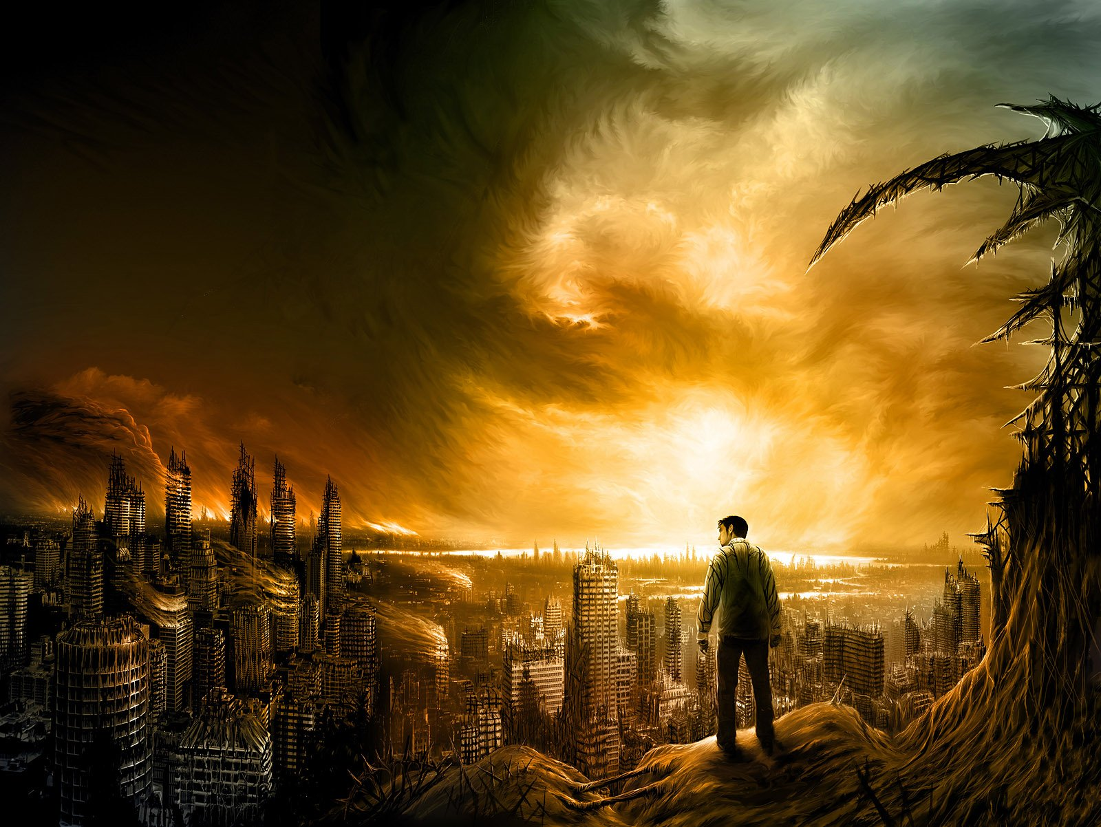 Sci Fi - Post Apocalyptic  Apocalyptic Sci Fi City Building Destruction Wallpaper