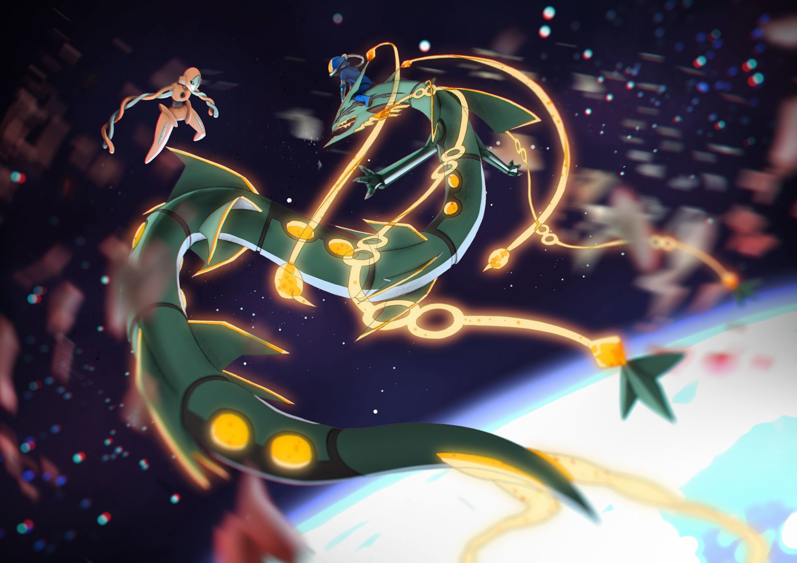 deoxys vs mega rayquaza wallpaper and background image