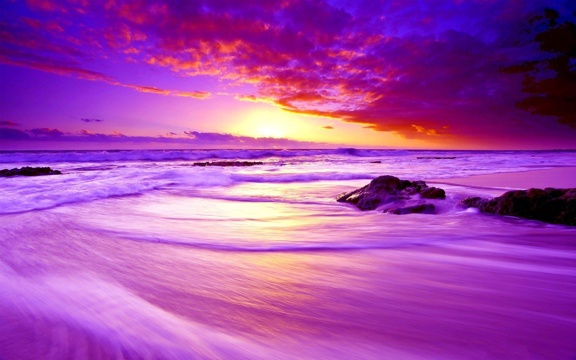 Fondo De Pantalla 1920x1200 Id: Purple Beach Sunset Fondo De Pantalla HD