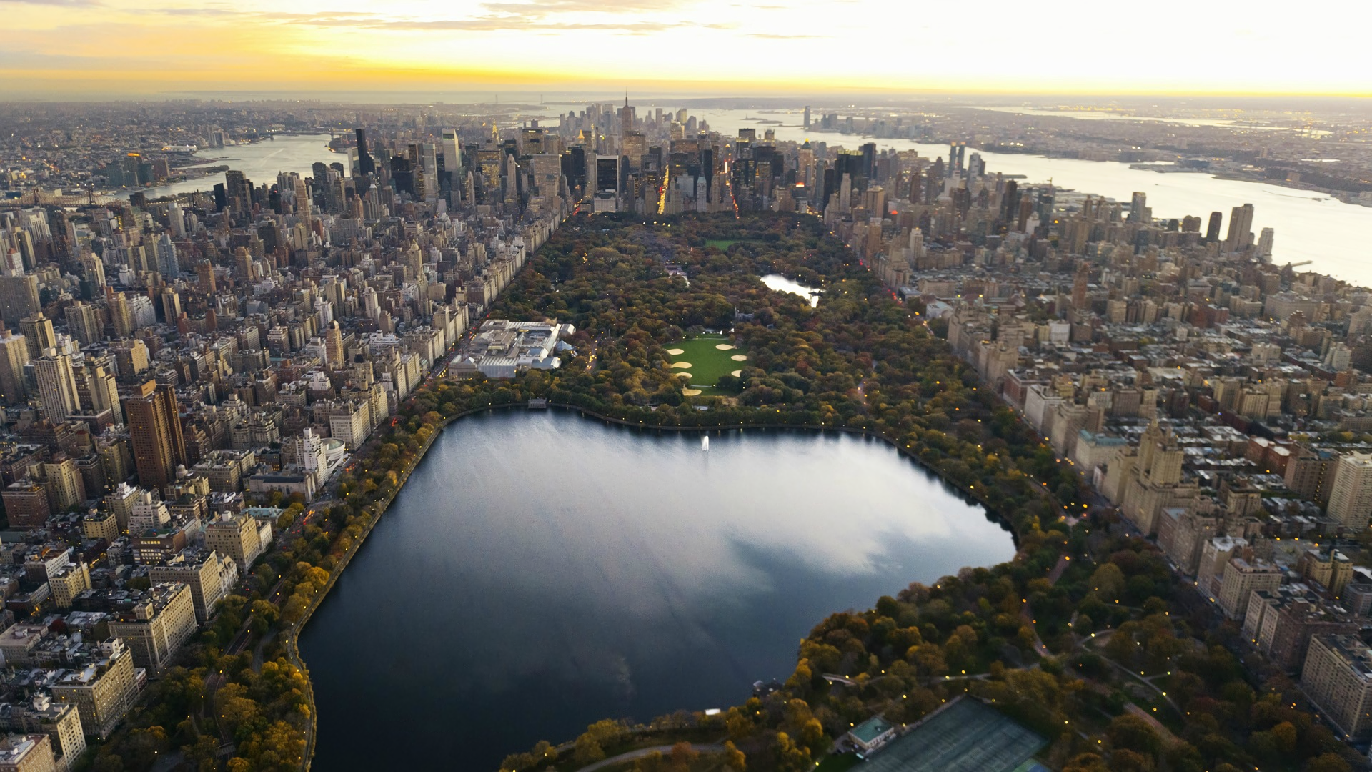 Aerial View Of New York City Full HD Wallpaper And Background Image