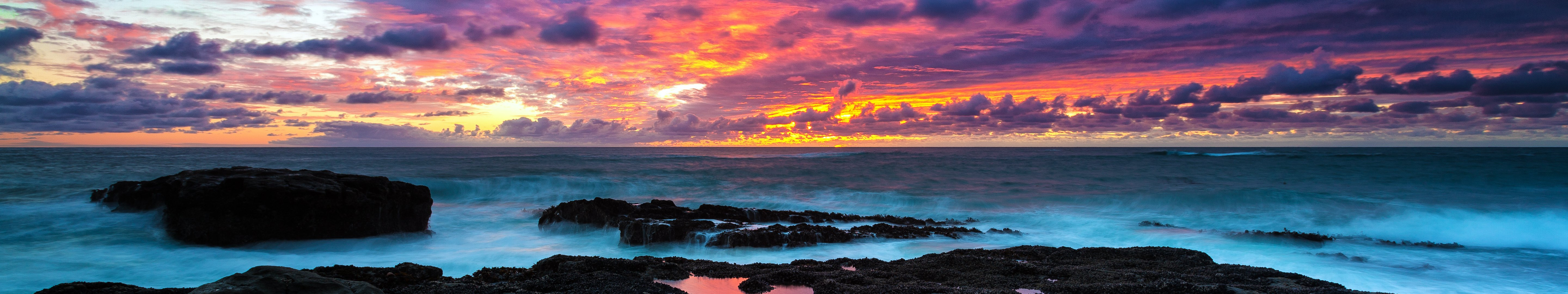 Ocean Sunset Hd Wallpaper Background Image 5760x1080 Id 718584 Wallpaper Abyss