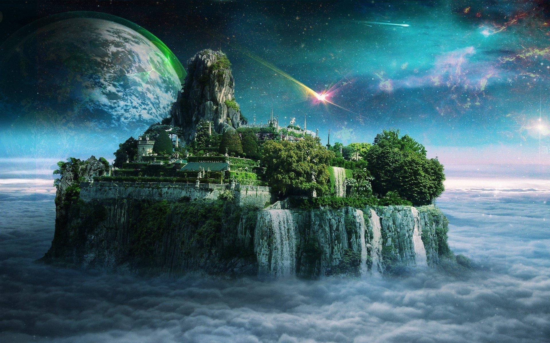 Artistic - Fantasy  Floating Island Artistic Landscape Moon Cloud Planet Wallpaper