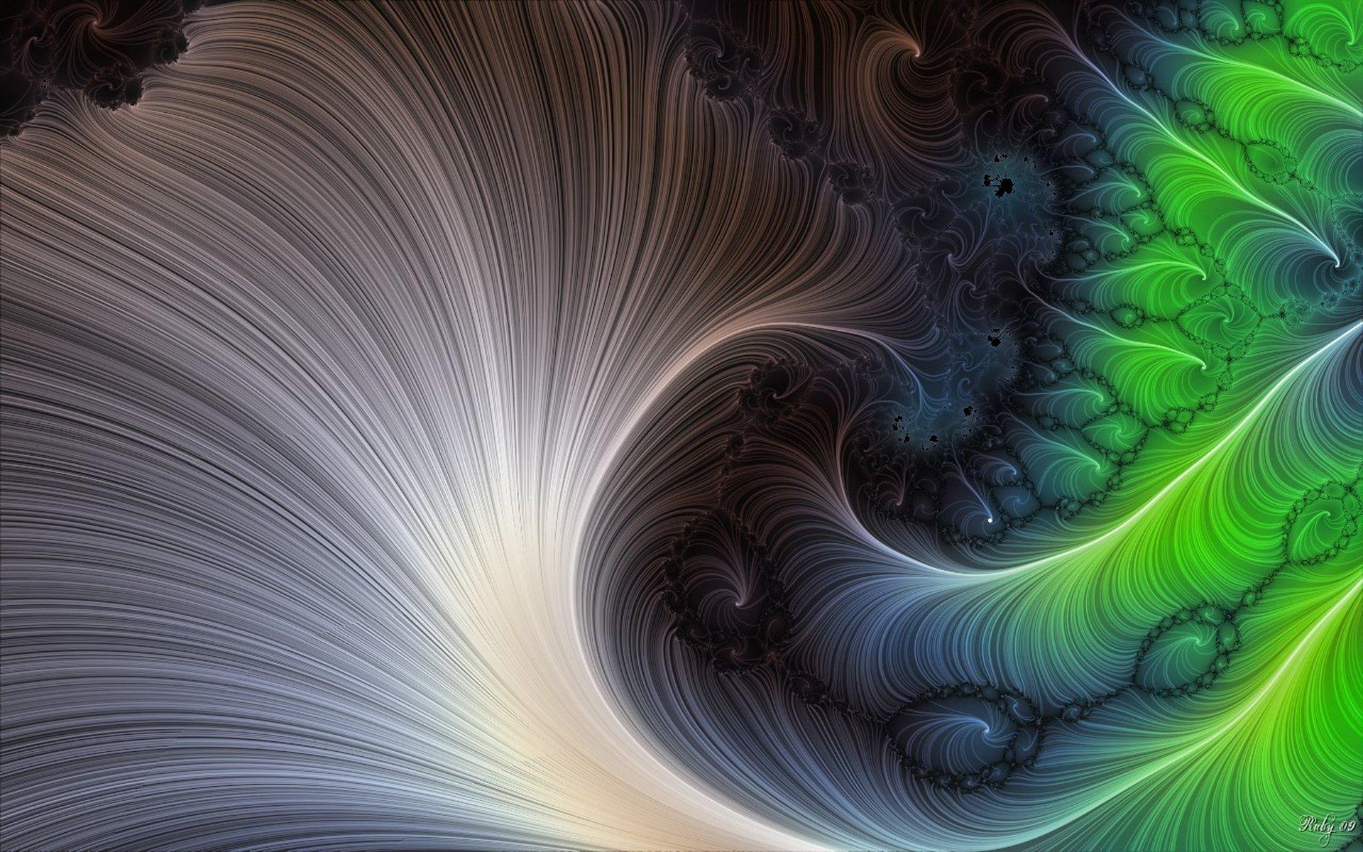 Abstract - Fractal  Abstract Swirl Green Digital Wallpaper