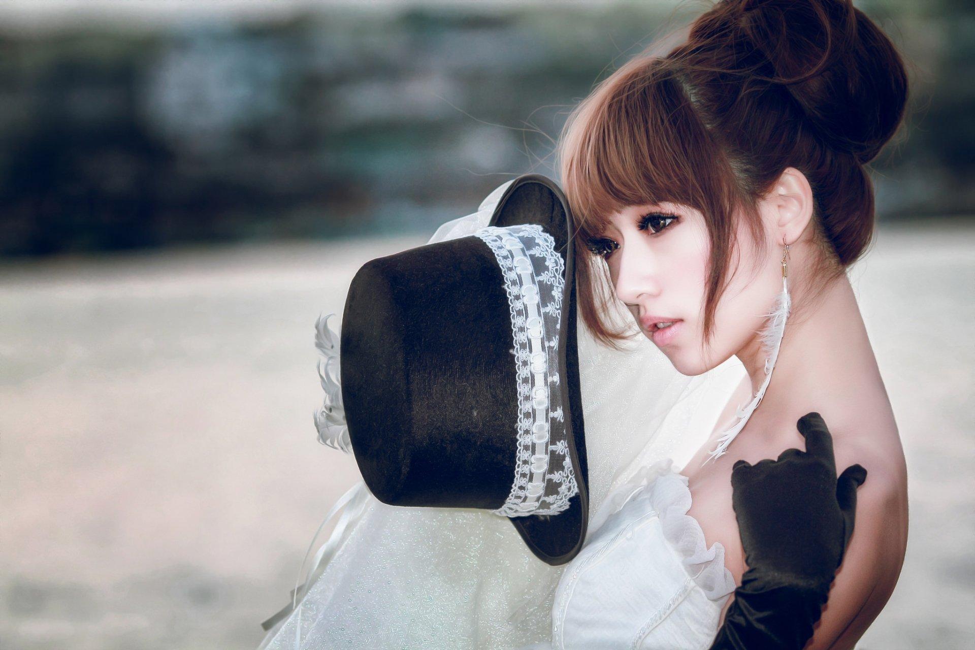 Women - Bride  Asian Woman Girl Model Hat Wedding Dress Brown Eyes Brunette Wallpaper