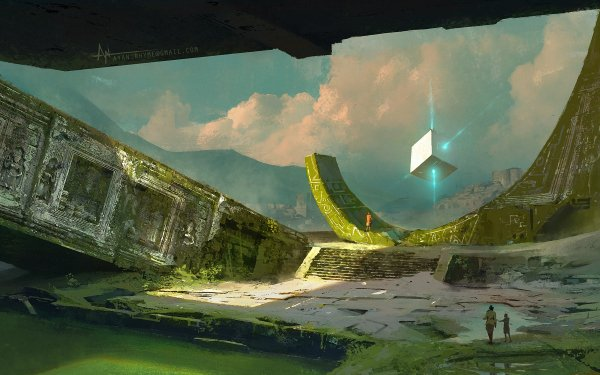 Fantasy Ruin Cube People HD Wallpaper | Background Image