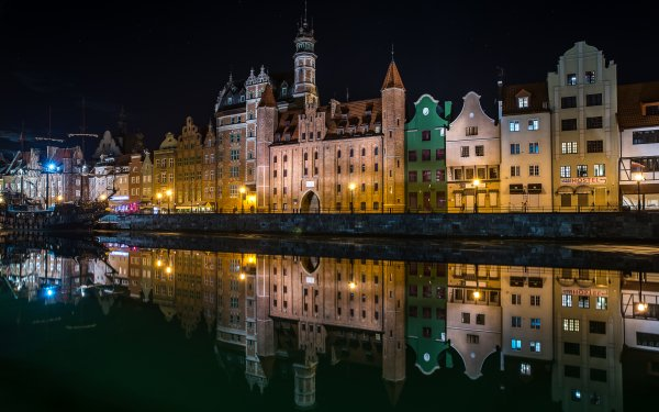 Man Made Gdansk Towns Poland River Light Night Reflection Town HD Wallpaper | Background Image
