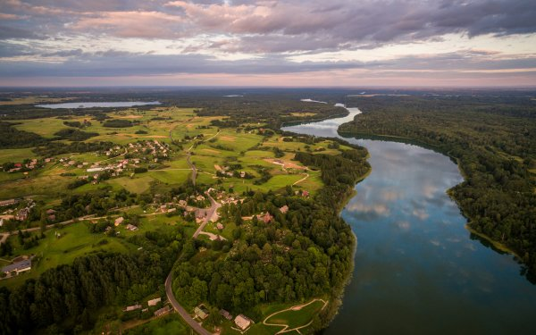 Photography Landscape Lithuania Panorama River Forest Tree Sky Cloud Horizon Aerial HD Wallpaper | Background Image