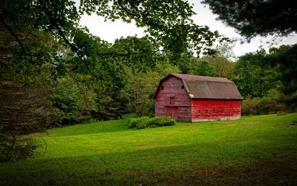Man Made Barn Connecticut Countryside USA Building HD Wallpaper | Background Image