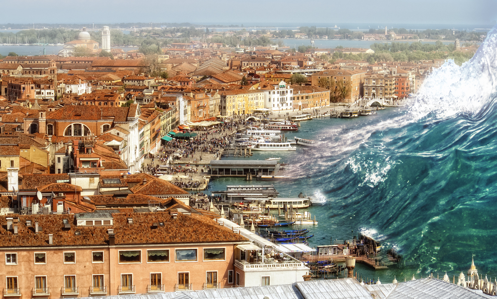 tsunami approaching venice italy hd wallpaper background image