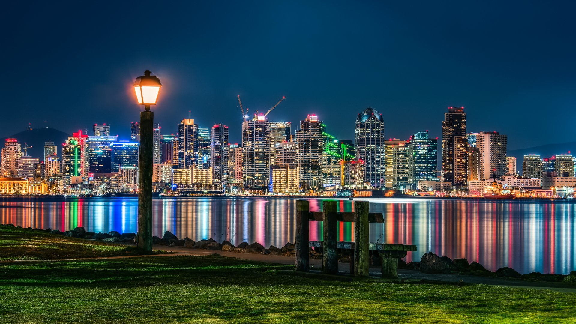 Man Made - San Diego  City California Night Water Light Reflection Wallpaper