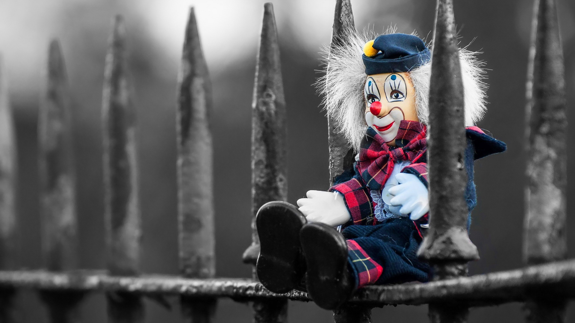 Toy clown on a fence hd wallpaper background image - Circus joker wallpaper ...