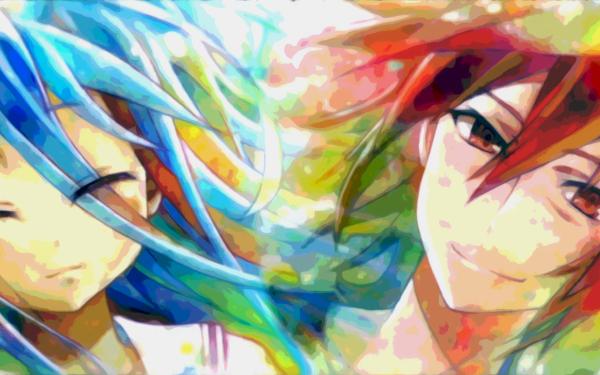 Anime No Game No Life Colorful Bright Sora Shiro HD Wallpaper | Background Image